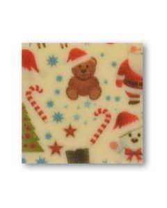 Quadrato chablon in cioccolato bianco - Natale